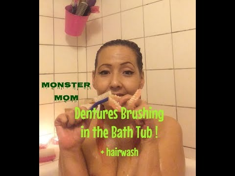 ASMR Denture Brushing in the Bath Tub (bonus: hairwash)