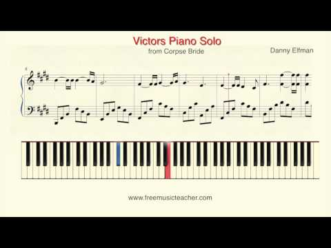 """How To Play Piano: Corpse Bride """"Victors Solo"""" Danny Elfman"""" Piano Tutorial By Ramin Yousefi"""