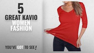 Kavio Women Fashion [2018 Best Sellers]: Kavio! Women V Neck 3/4 Sleeve Top Red XL