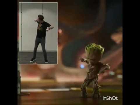 James Gunn dancingBaby Groot dancing