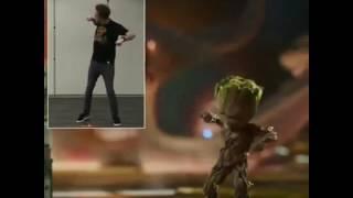 James Gunn dancing/Baby Groot dancing