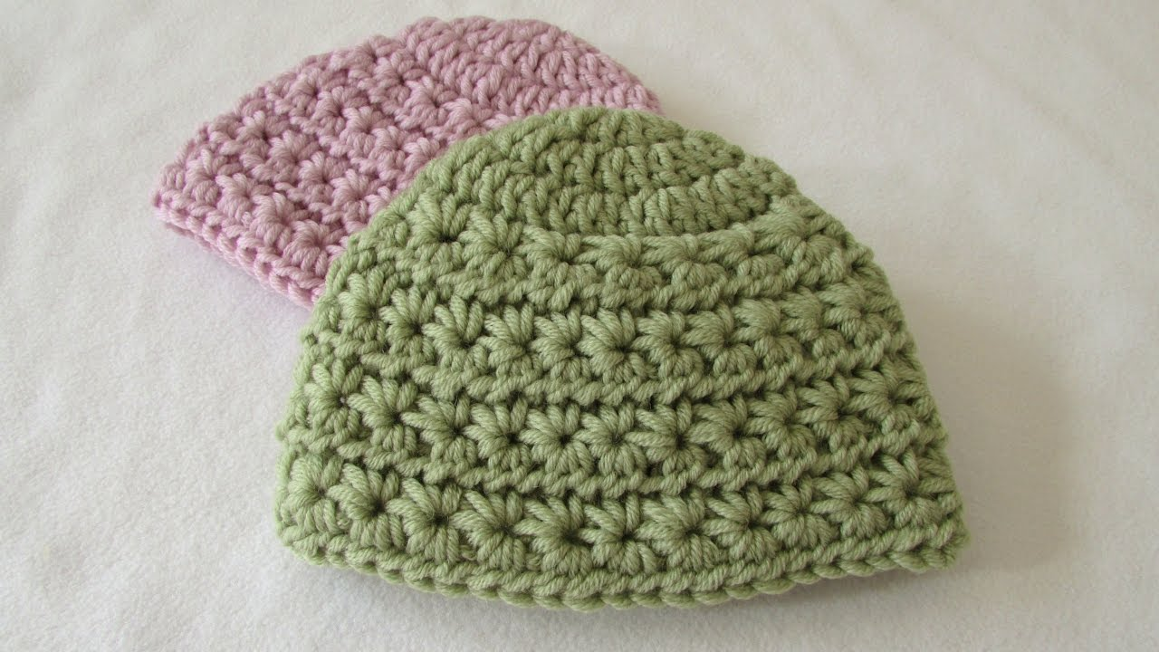 How To Crochet A Chunky Star Stitch Baby Hat Youtube