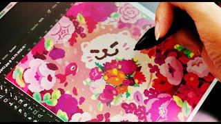 꽃분홍 고양이 그리기 / 포토샵 드로잉