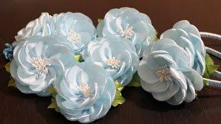 Flor de fita estilo Kanzashi por Olga Ivanova