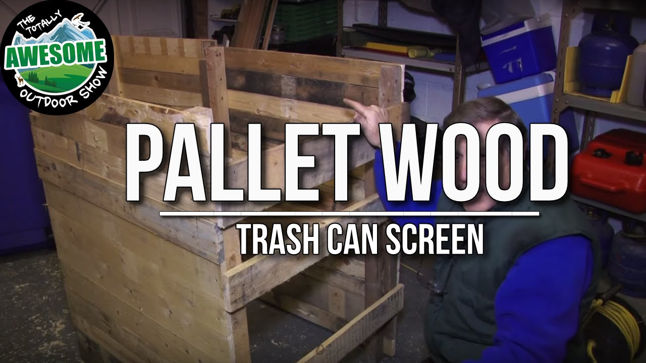 Make A Pallet Wood Trash Can Screen Cheap Amp Easy Ta