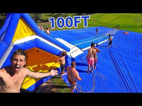 WORLDS LARGEST SLIP N SLIDE! *100FT*