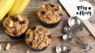 Chunky Monkey Muffins, Gesunde Bananen-Nuss Muffins glutenfrei backen