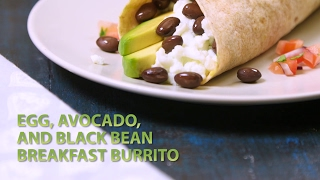 Egg Avocado and Black Bean Breakfast Burrito