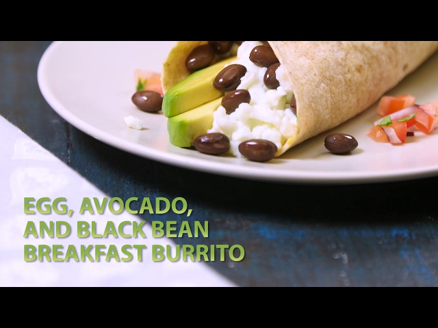 Egg, Avocado, and Black Bean Breakfast Burrito