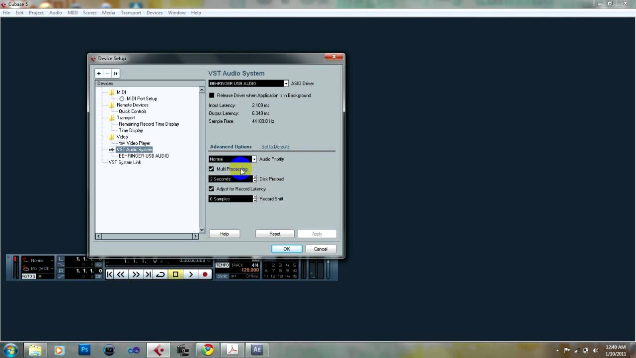 cubase vst audio system settings