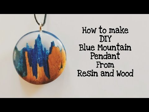 How to make DIY Blue mountain pendant necklace from epoxy resin and wood | Resincast |Resin tutorial