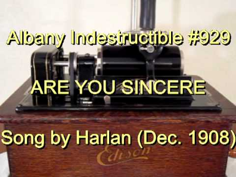 929 - ARE YOU SINCERE, Song by Harlan (Dec. 1908)