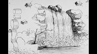 """How to draw """"Waterfall"""" pencil drawing step by step"""