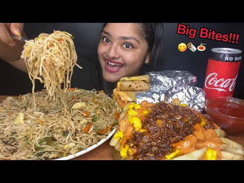 EGG CHOWMEIN 🍝 WITH EGG ROLLS AND ANIMAL STYLE FRIES 🍟 BIG BITES | FOOD EATING VIDEOS
