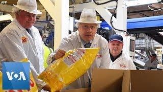 British PM Boris Johnson Takes Campaign to Northern Ireland Chips Factory