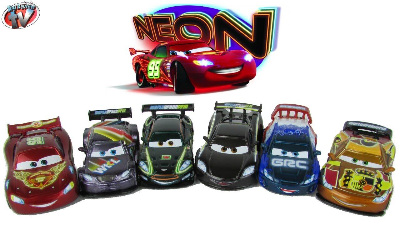 Disney Pixar Cars Neon Racers Full Set Of 6 Die Cast Cars