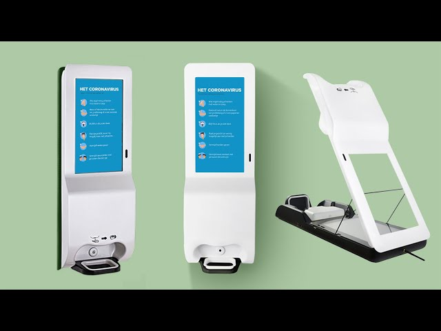 Funtek 21.5 inch Digital Signage Kiosk with Auto Hand Sanitizer Dispenser Thermometer Sensor