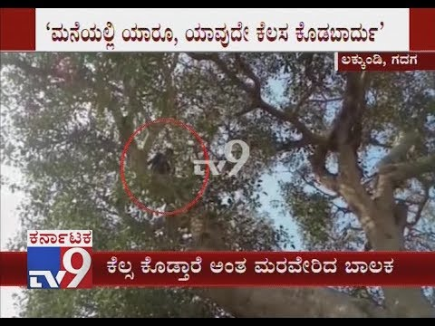 17-Year-Old Climbs Tree, Protests Against His Parents at Gadag