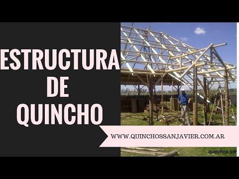 ESTRUCTURA DE QUINCHO DE JUNCO O PAJA A DOS AGUAS O CAÍDAS POSTES DE PALMERA Y PALOS DE EUCALIPTO