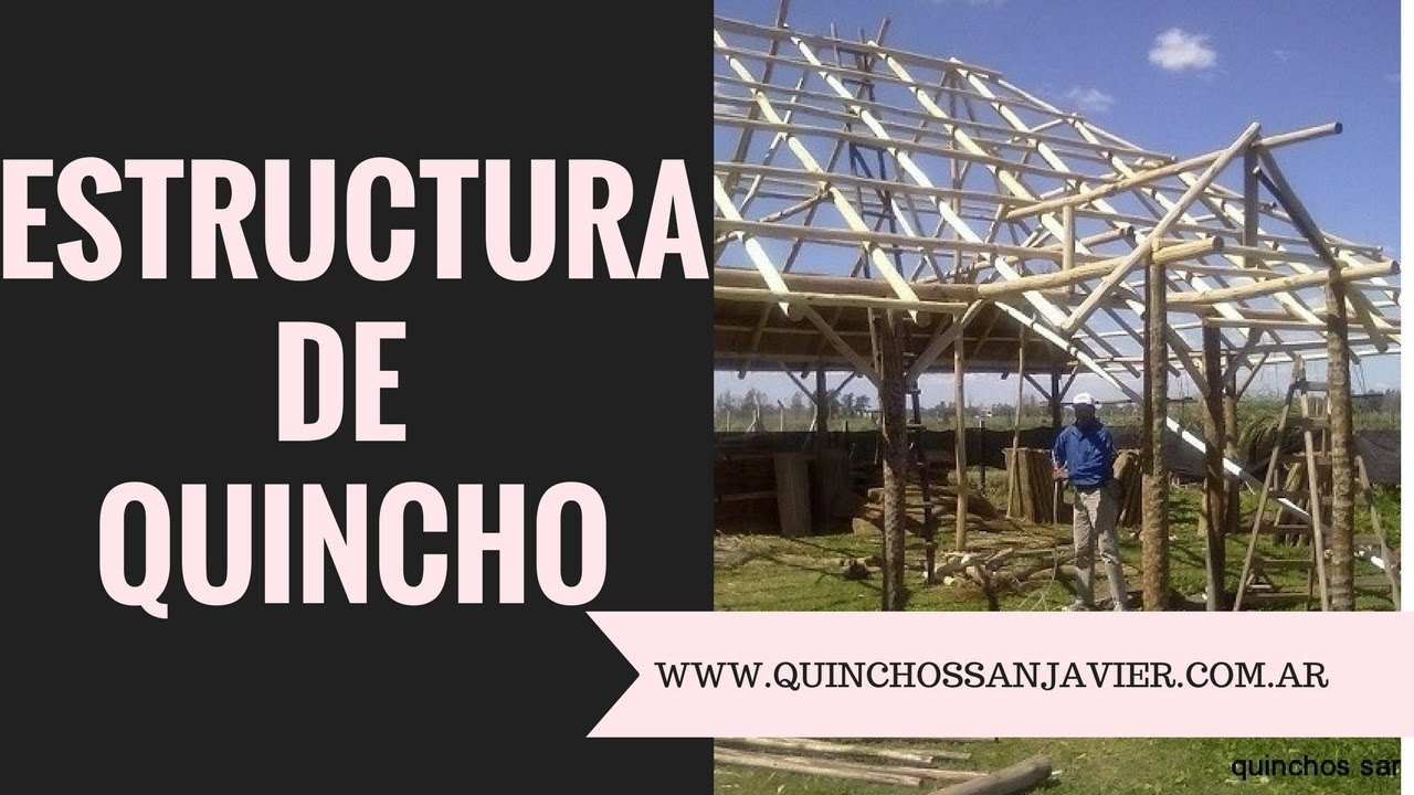 ESTRUCTURA DE QUINCHO DE JUNCO O PAJA A DOS AGUAS O CAÍDAS POSTES DE ...