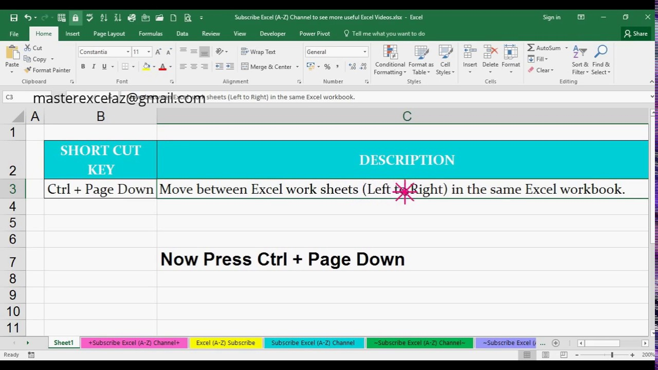 Ctrl + Page Down Shortcut Key with Example in MS Excel Spreadsheet