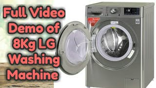 Lg Front Loading Washing Machine Demo || 8kg Fully Automatic ||