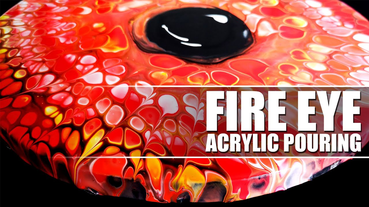 Acrylic Paint Pouring EYE of FIRE 🔥 - Open Cup Technique | EASY Pour Painting for Beginners