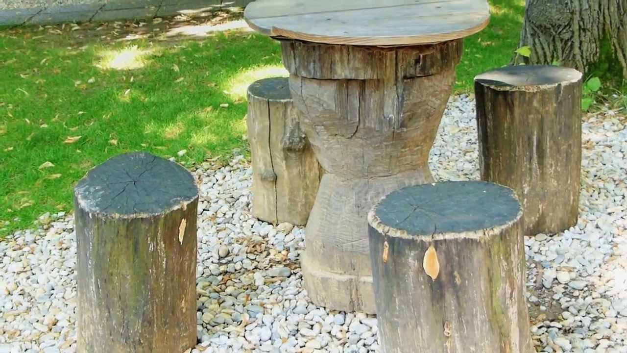 12227 mesa y sillas de troncos de rbol efecto for Como decorar un arbol de jardin