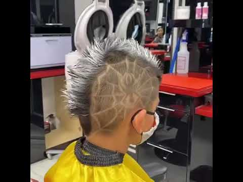 Spider tattoo and white color for child Nagarhairstyle barber store assortment