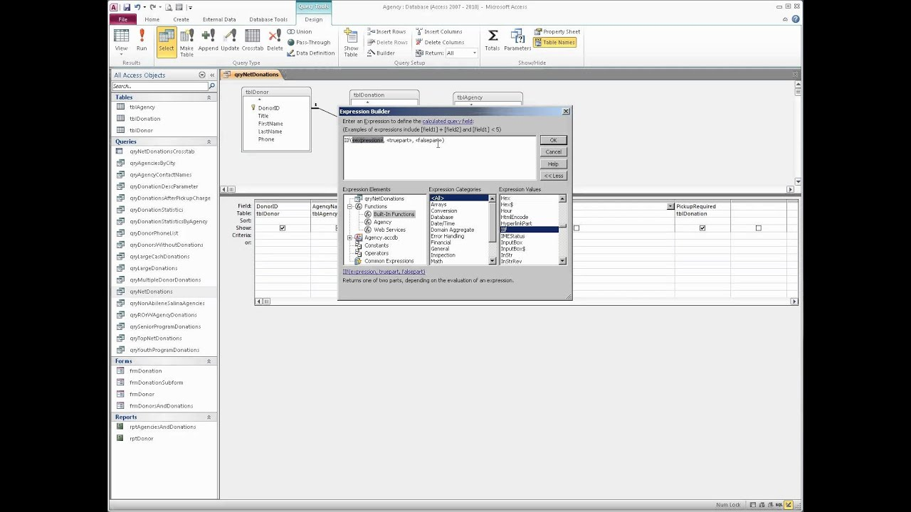 using the iif function with a yes no field