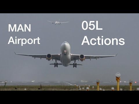 Manchester Airport 05L runway actions Heavy airplanes Boeing Airbus landing and taking off