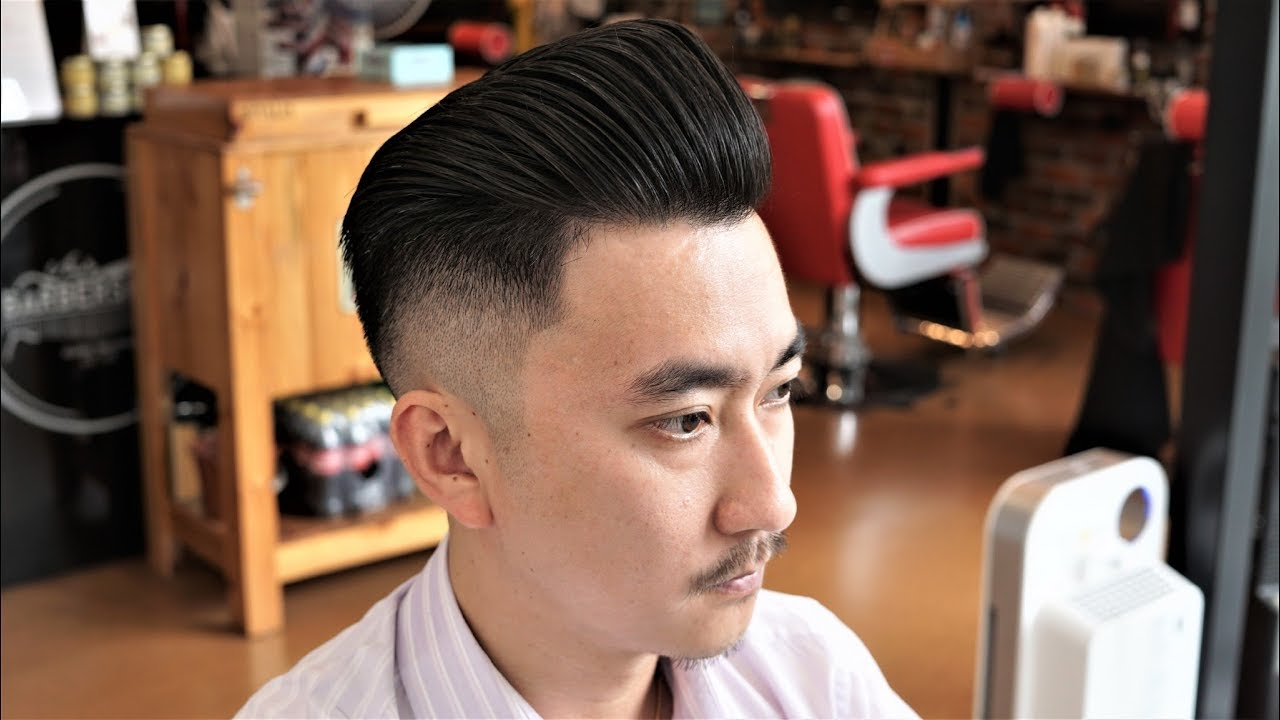 stiff asian hair fade pompadour