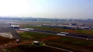 MUMBAI AIRPORT RUNWAY 14 LANDING HEAVY TRAFFIC VIEW FROM OLD ATC TOWER