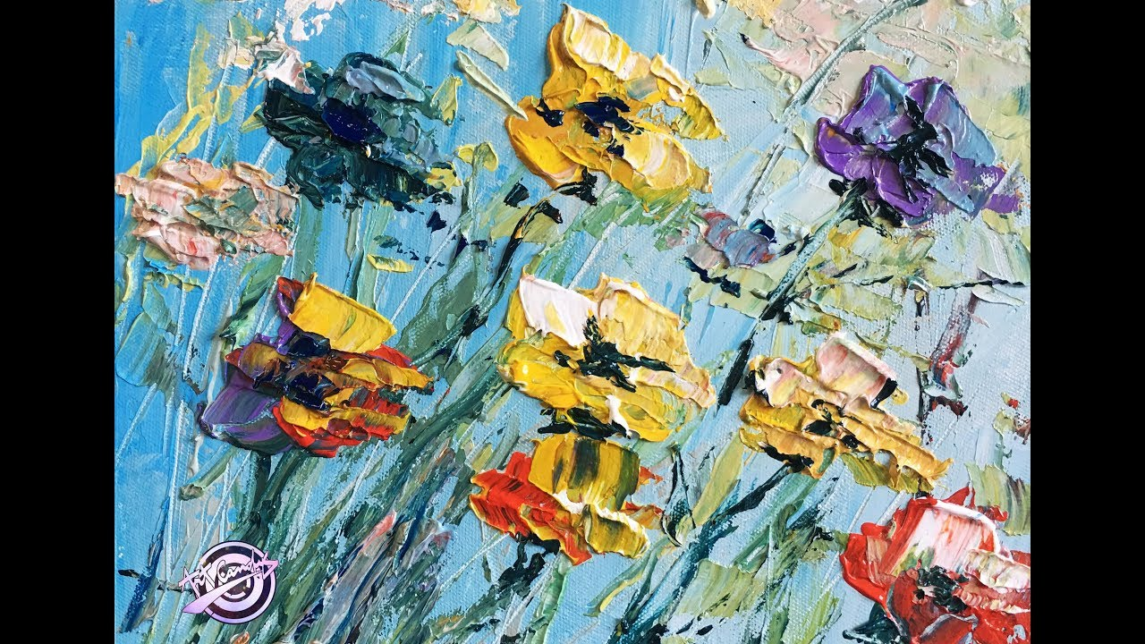 Simple Abstract Flower Painting Palette Knife Painting How To Paint Flowers Painting Art Candy