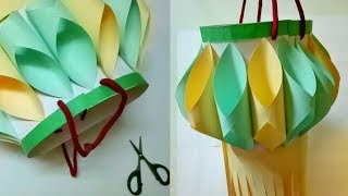 How To Make Diwali / Christmas Decoration Ideas By Mimu Craft | Diy Paper Lantern With Color Paper