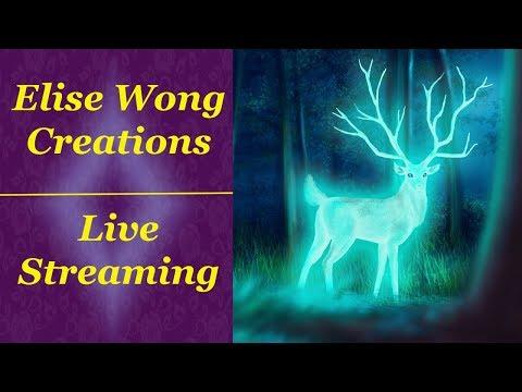 LIVEstream: Magical Deer Nightscape (Digital Painting)