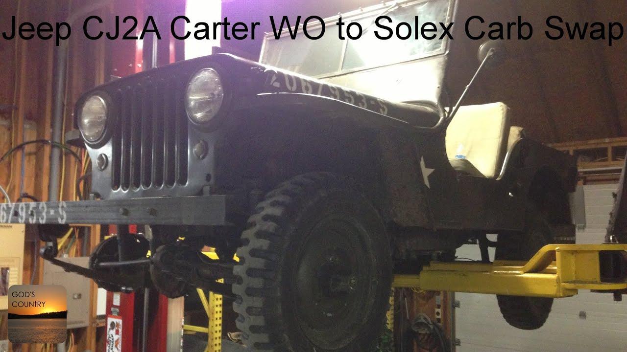 willys jeep cj2a carter wo to solex carb swap [ 1280 x 720 Pixel ]