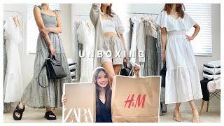 [여름🏖언박싱] 자라 원피스 H&M 여름옷 같이 입어봐요 (feat.테디 블레이크 가방)   Summer Zara H&M Unboxing (feat.Teddy Blake)