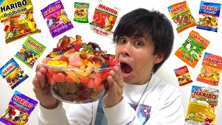 [Gigantic] We mixed 17 types of Haribo gummy candies together and made the ultimate creation lol