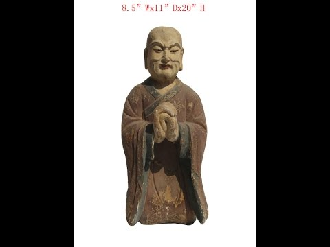 Chinese Antique Wood Hand Carving Kneeling Monk Statue WK2864