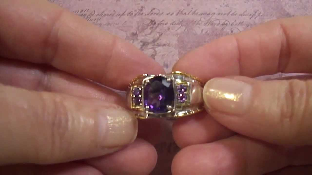 Mens Amethyst Sterling Silver Ring with a Platinum and 14k Yellow