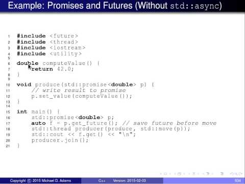 C++ Lecture Series --- Concurrency --- Part 5 of N --- Promises and Futures