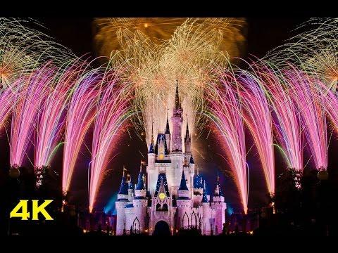 (4K) Disney Celebrate The Magic & Wishes Fireworks Display - Walt Disney World Florida