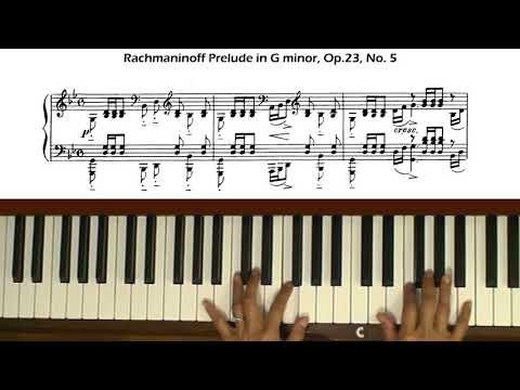 Rachmaninoff Prelude Op. 23, No. 5 Piano Tutorial Part 1 (with score)