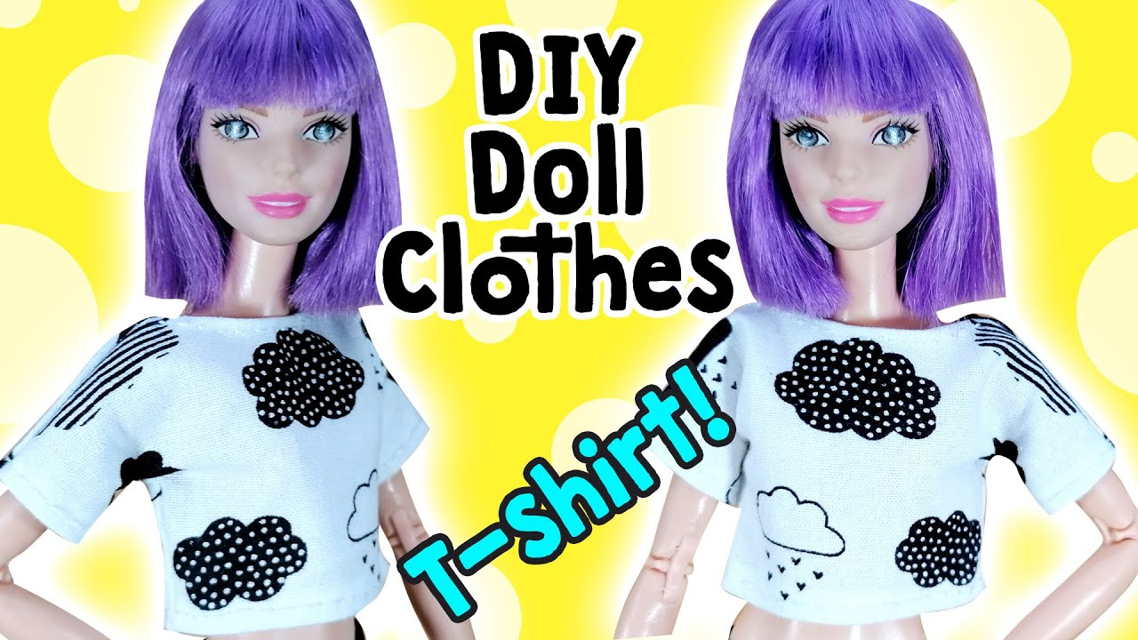 How to Make Barbie Doll Clothes   Sewing Crop Top and Oversize Doll T-Shirt