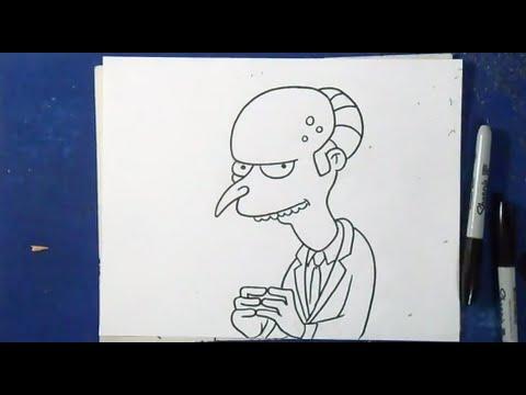 Comment dessiner mr burns les simpsons youtube - Comment dessiner les simpson ...
