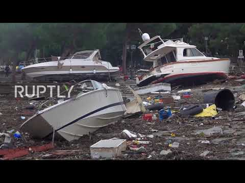 Italy: Yachts washed ashore after storm ravages Ligurian sea