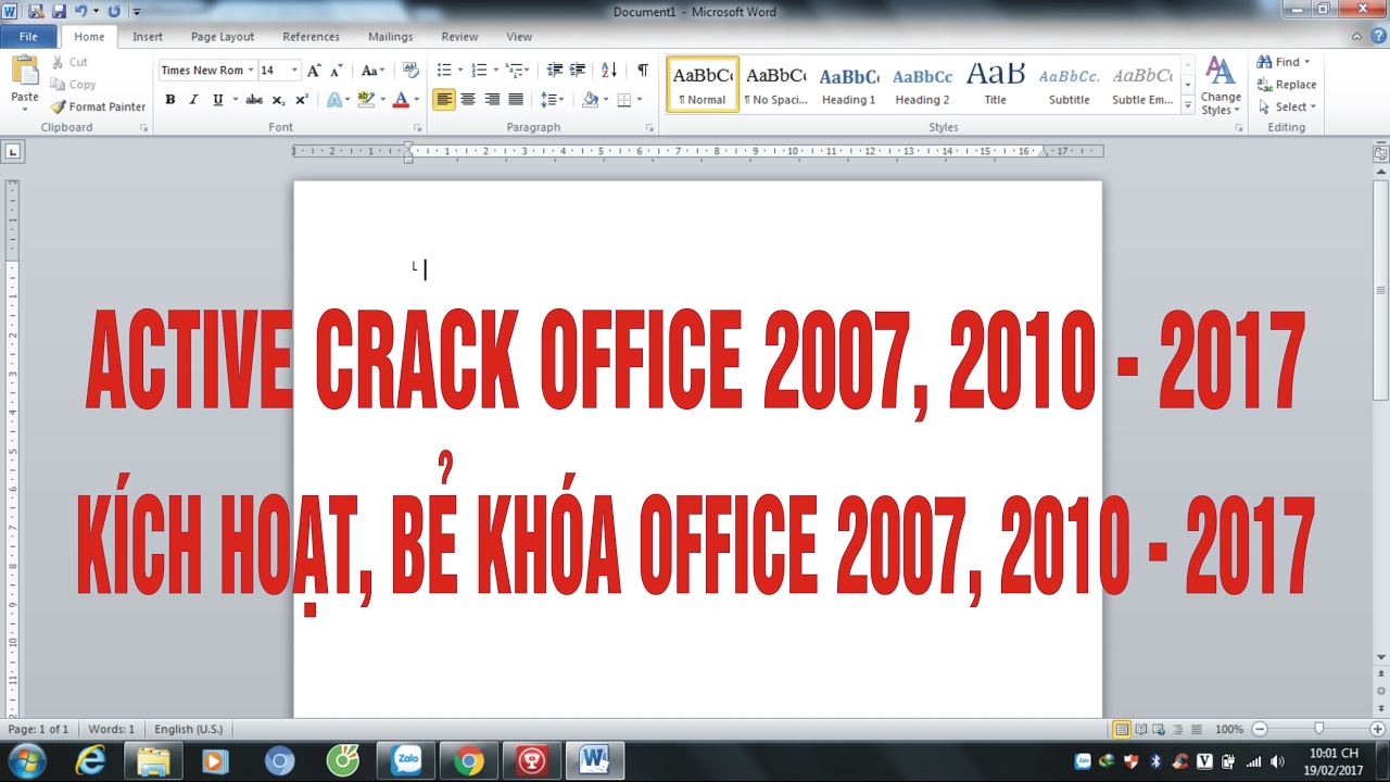 Hướng dẫn active crack office 2010 100% thành công