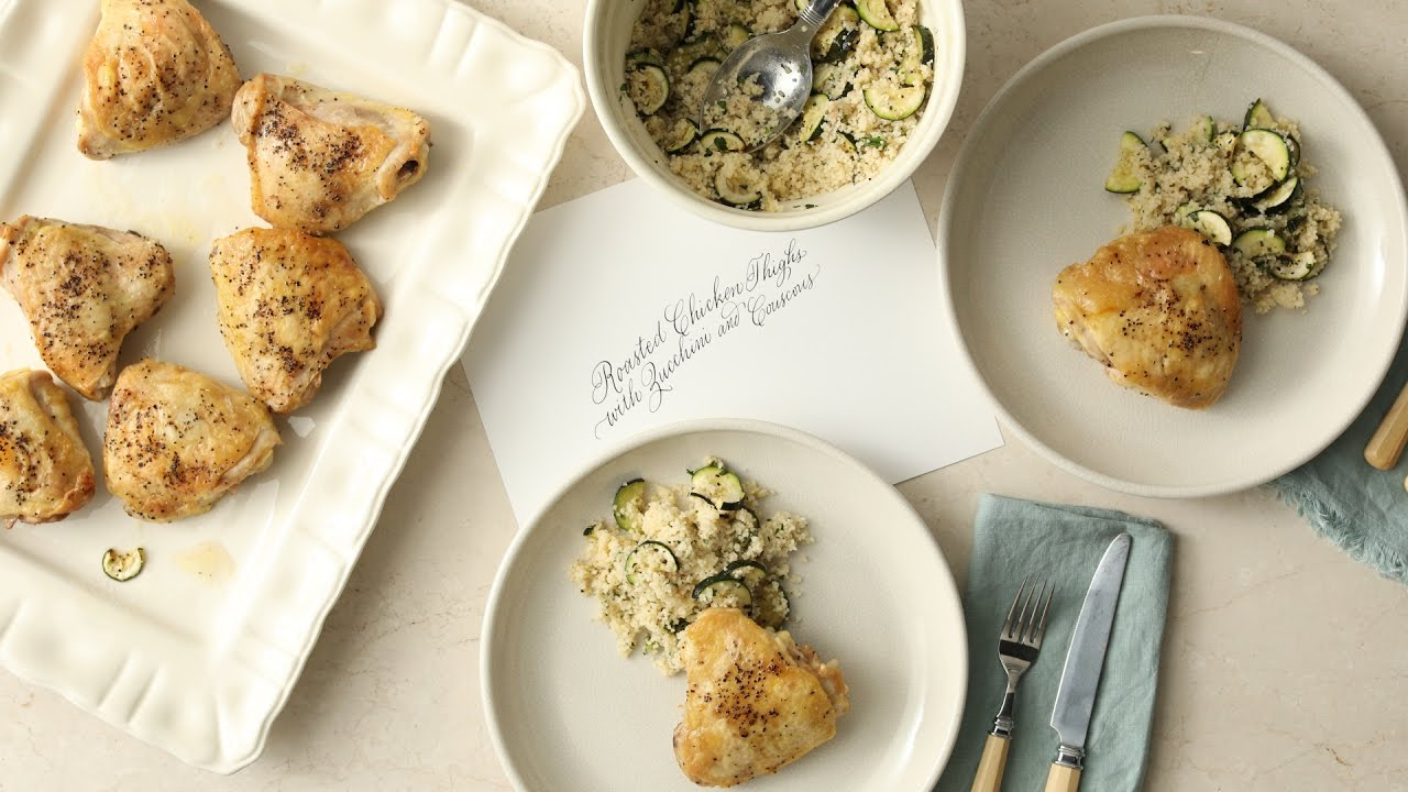 Pan roasted chicken thighs with zucchini couscous martha stewart pan roasted chicken thighs with zucchini couscous martha stewart forumfinder Gallery