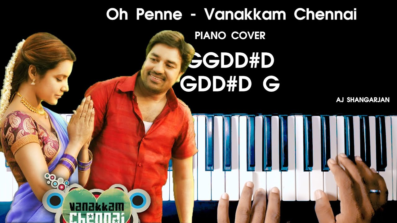 Oh Penne - Vanakkam Chennai Song Piano Cover with NOTES | AJ Shangarjan